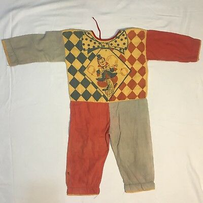 Vintage Clown Pajamas (or Halloween Costume ?) Children's Child's Boy's Circus