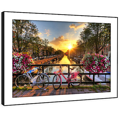 SC455 Amsterdam Bicycle Bridge  Landscape Framed Wall Art Large Picture Prints