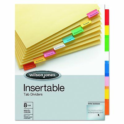 8 Tab Dividers Insertable Index Fit Standard 3 Ring Binder Letter Size Sheets