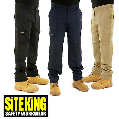 SITE KING Mens Cargo Combat Work Trousers with Knee Pad Pockets - ORIGINAL 004