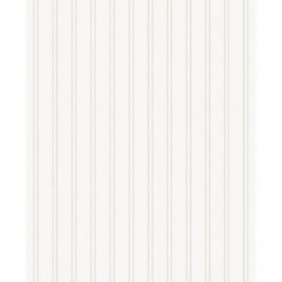 Beadboard Stripes Texture Wallpaper White Paintable Prepasted Covering NEW