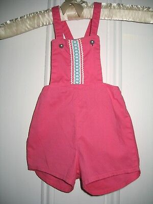 Fab Vintage 50-60s Girl Toddler Sun Romper Sz 1 Bright Pink Cotton