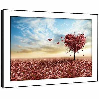 SC319 Pink Heart Tree Nature Cool Landscape Framed Wall Art Large Picture Prints