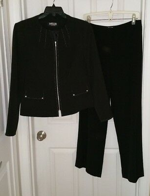 SG Wicus Black Zip Blazer Dress Pants Slacks Suit Women Sz 10 SAMPLE