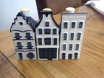 KLM BLUE DELFT BOLS MINIATURE HOUSES 3,11 & 27 with stoppers