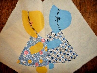 Antique Vintage Lot of 2 Large Sun Bonnet Sue Quilt Blocks