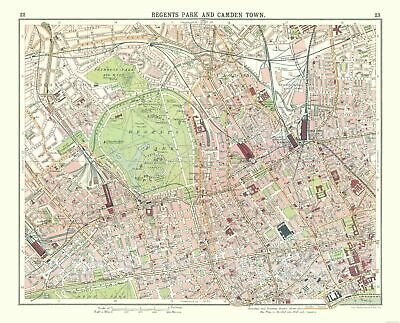 International Map - Regents Park, Camden Town - Bartholomew 1921 - 28.49 x 23