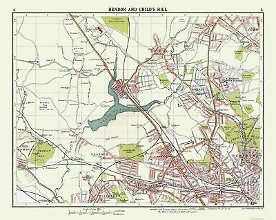 International Map - Hendon and Child's Hill - Bartholomew 1921 - 28.97 x 23
