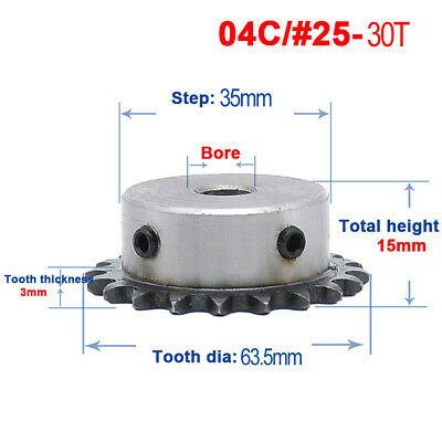 """1/4"""" #25 Rotary Chain Drive Sprocket 30T Pitch 6.35mm 1/4"""" Bore 8/10/12mm"""