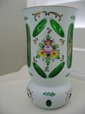 Antique Czech Bohemian Moser Art Glass Vase