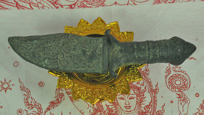 Antique Khmer dagger Knife sword Diety God king khan Ancient Fine Old Bronze 18t