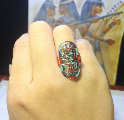 Sterling Silver Prayer to Amun-Ra Egyptian Band Collectible Hand Made Egypt Ring