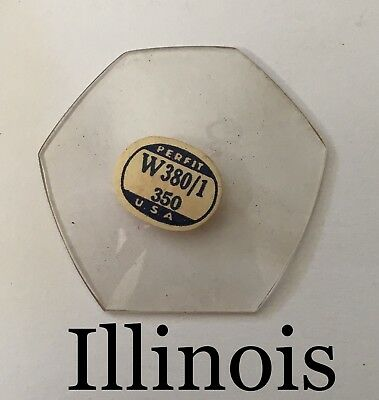 NOS Vintage Illinois Pentagon Shape Pocket Watch Glass Crystal Rare W380/1
