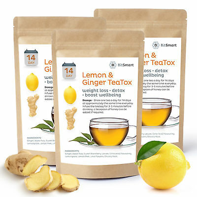 14 Day Teatox Weight Loss Tea Slimming Diet Tea Burn Fat Tea Detox Lemon&Ginger