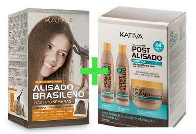 Kativa Keratina & Argan Oil Kit Alisado Brasileño + Kit Post Alisado (3x250ml)