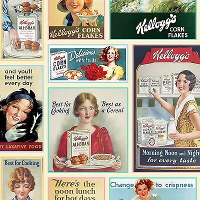 Kelloggs Vintage Ladies Ad Patch premium 100% cotton fabric by the yard