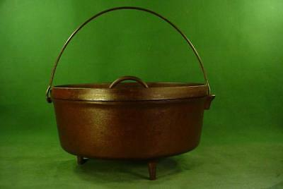 VINTAGE ANTIQUE 3 FOOT CAST IRON DUTCH OVEN No 12 GREAT FOR CAMPING