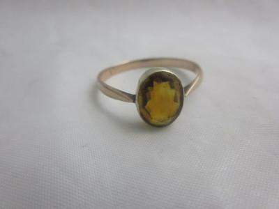antique edwardian 9CT 9K GOLD rose CITRINE RING SIZE Q 9 USA  J89
