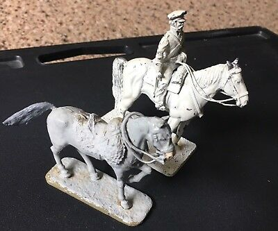 Lot Of Two Large Antique Lead Horses..nice!!