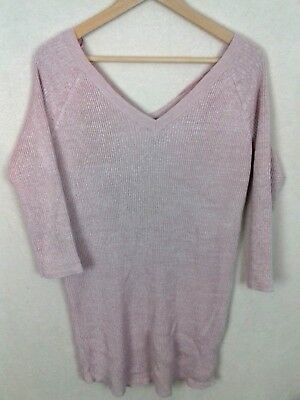 New Look Maternity Size 16 Light Pink Ribbed V Neck 3/4 Sleeve Casual Jumper