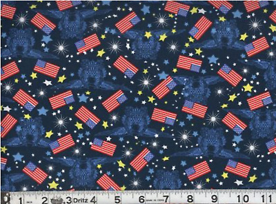 Patriotic USA Home Of Brave Stars Blue Cotton Fabric Springs CP63766 By The Yard