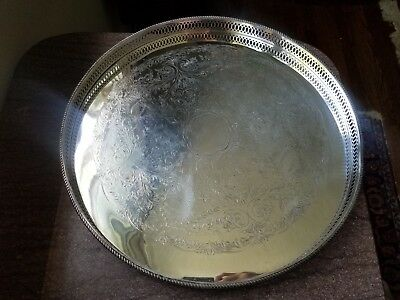 Antique Silverplate Large Round Gallery English Serving Tray 16.25x1.25