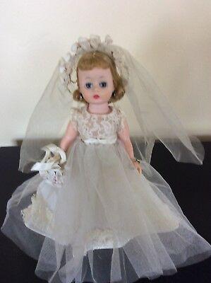Vintage Madame Alexander Doll Cissette Bride 1950s Stockings pearls bracelet 11""