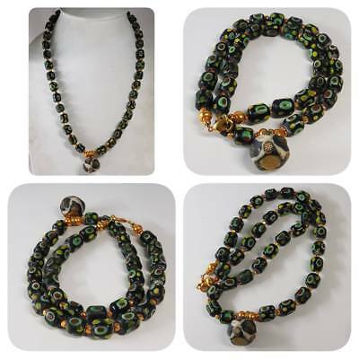 Islamic Old Glass Mosaic Pendant & beads Lovely Unique Necklace    #k2
