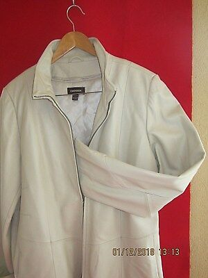 Women White Danier Leather Jacket Incl Buckle Up ( All Season- Spring/winter)