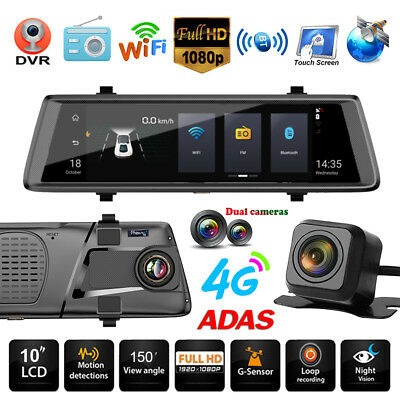 10'' HD Dual Lens 4G WiFi Android5.1 GPS Car DVR Camera Rearview Mirror Cam ADAS