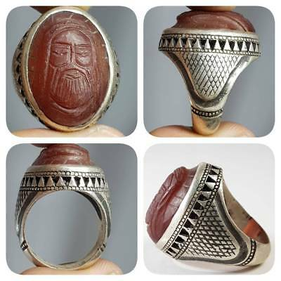 Silver Unique Ring With Old Rare Carved Engraved Face Agate Stone    #k2