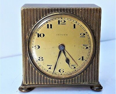 Vintage Art Deco Brass Swiss Made  Zenith Alarm Clock -  Working order