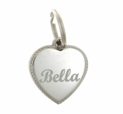 Custom Engraved Personalized Rope Style Heart Stainless Steel Pet Dog Cat ID Tag