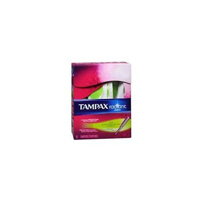 Tampax Radiant Plastic Super Absorbency Unscented Tampons, 16 Count (Pack of 2)