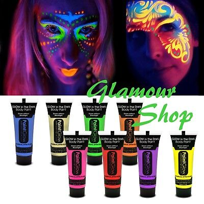 PaintGlow in the DARK Face Body Painting Art Club Dance Party Makeup Paint Glow