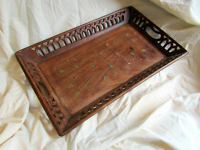A Vintage Indian Wooden Serving Tray With Brass Inlay