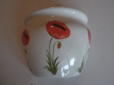 Wall Pocket Large Hand Painted by M.Hill with Poppies
