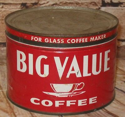 Vtg. BIG VALUE Brand Coffee Tin Can 1 Pound W/Cup Motif Red W/White St. Louis MO