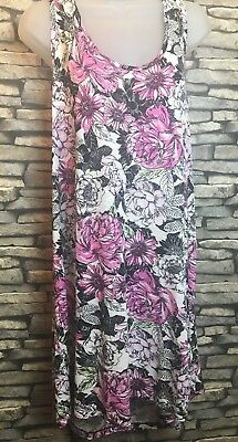 Ladies NEXT size 12 long t shirt tunic dress floral print beach summer holidays