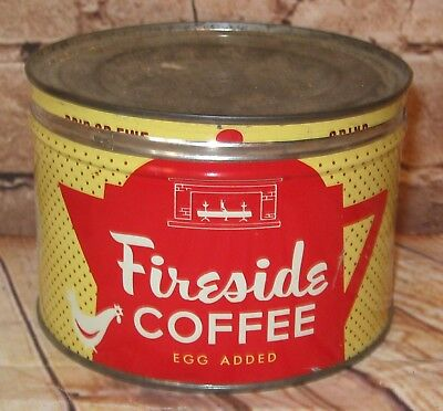 Vtg. FIRESIDE Egg Added Coffee Tin Can 1 Pound Red & Yellow W/Chicken Hen Motif