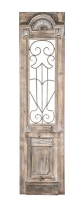 Distressed Scroll Door Wood Wall Decor Rustic Antique Style Wood & Metal Wall