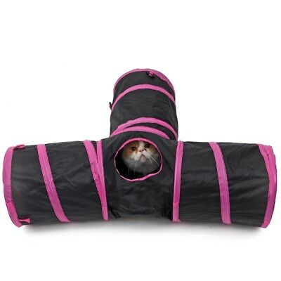 Red Pet Cat Tunnel Toy 3 WAY Y Shape Foldable Kitten Play Exercise Tunnel Cave