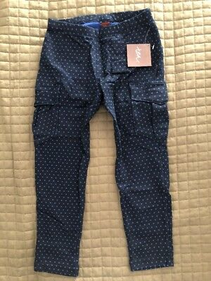 NEW NWT Tea Collection Girls Triangle Print Cargo Pants Heritage Blue - Size 7!