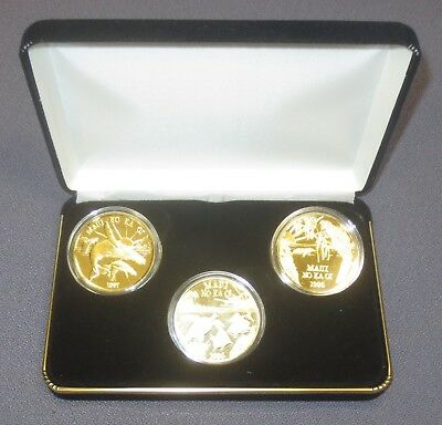 Rare Series 2 1995-1997 MAUI TRADE DOLLARS - 3 Coin Set GOLD PLATE Serial Number