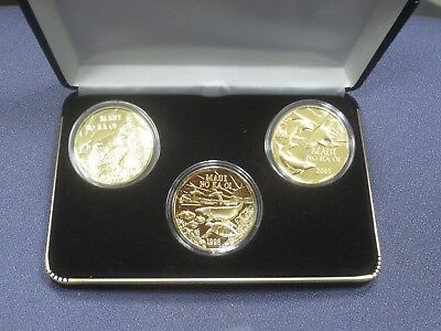 Rare Series 3 1998-2000 MAUI TRADE DOLLARS - 3 Coin Set GOLD PLATE Serial Number