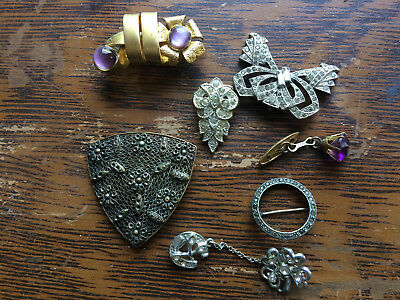 Vtg ANTIQUE Art Deco or Victorian Jewelry lot Dress Scarf Clip Brooch Rhinestone