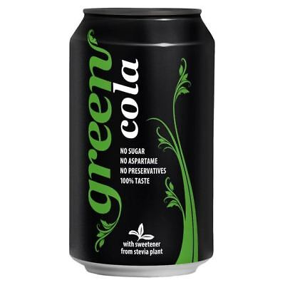Green Cola 330ml Can - No calorie  stevia sweetened cola (Pack of 24)