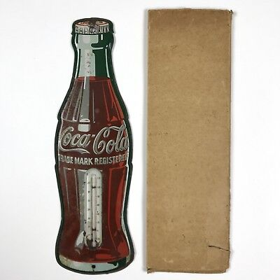"1950s Coca-Cola Bottle Thermometer 17"" Flat Tin Soda Sign with Box"
