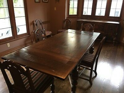 Jacobean-Style Dining Room Set, Table (6) Reupholstered Chairs & Buffet