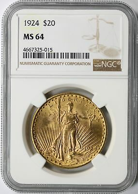 1924 Gold St. Gaudens $20 Double Eagle NGC MS64